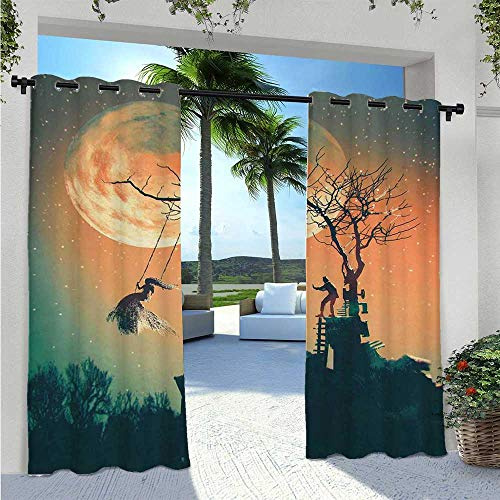 Adorise Home Curtains Spooky Night Zombie Bride and Groom Lady on Swing Under Starry Sky Full Moon Elegant Waterproof Curtain Perfect for Your Pergola Orange Teal W55 x L63 Inch