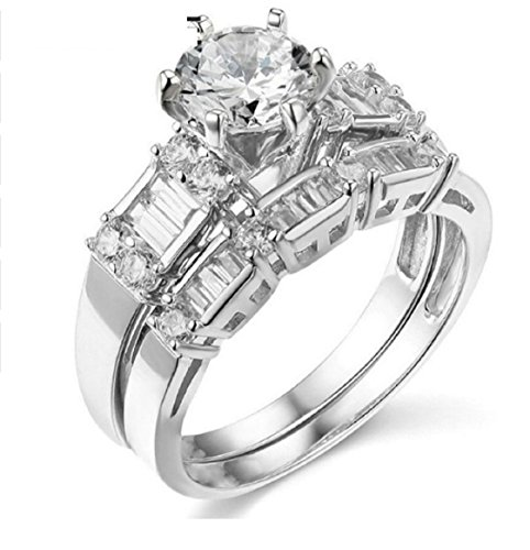GOWE 14K 585 White Gold Ring Diamond Solitaire Bridal Set Engagement Ring 1CT Round Cut