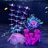 ZtohPyo 4 Pieces Silicone Glow Fish Tank Decorations Plants with Simulation Silicone Coral, Artificial Horn Coral,Fluorescence Sea Anemone for Aquarium Fish Tank Glow Ornament