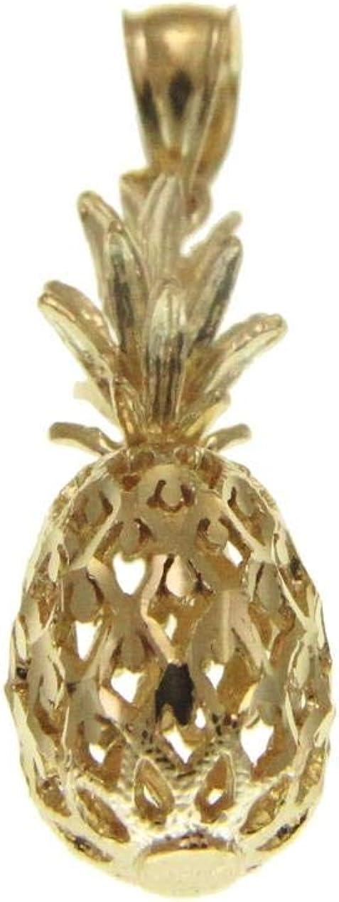 14K solid yellow gold 3d Hawaiian diamond cut 9.2mm pineapple charm pendant