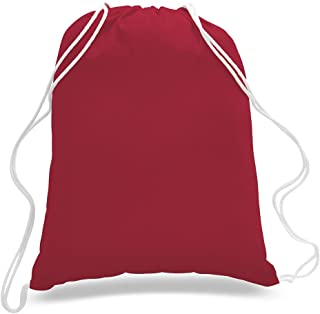 (12 Pack) 1 Dozen - Durable Cotton Drawstring Tote Bags (Red)