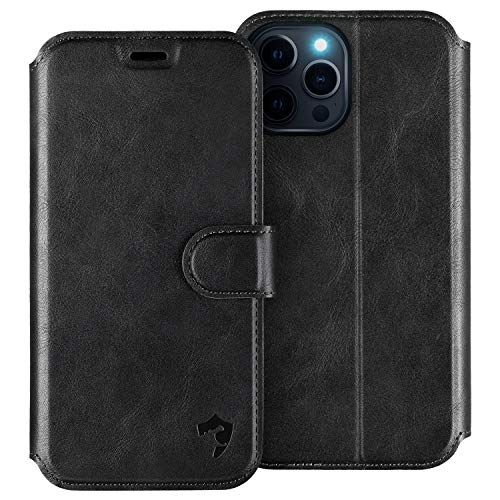 HIPPOX Cover iPhone 12, Custodia iPhone 12 PRO Interno TPU Antiurto Portafoglio [Supporto Stand] [Carta Fessura] Custodia di Pelle Flip Case Cover per iPhone 12/12 PRO (6,1 Pollici) - Nero
