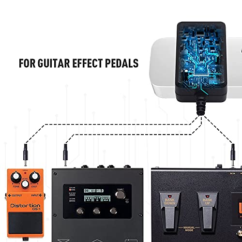 SONICAKE Accesorio para guitarra o bajo 9V DC 1000mA 1A Adaptador de fuente de alimentación del pedal