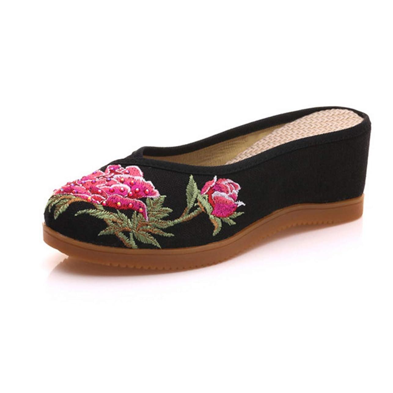 手入れ伝える糸[Aiweijia] 婦人向け 中華風 刺繍 靴 丸頭 カジュアルシューズ? 快適 レトロ 靴