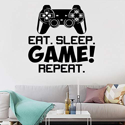 Gamer Controller Wall Decal, Creative Gaming Quote Eat Sleep Repeat Game Wall Sticker for Kids Boys Playroom Bedroom Wall Decor