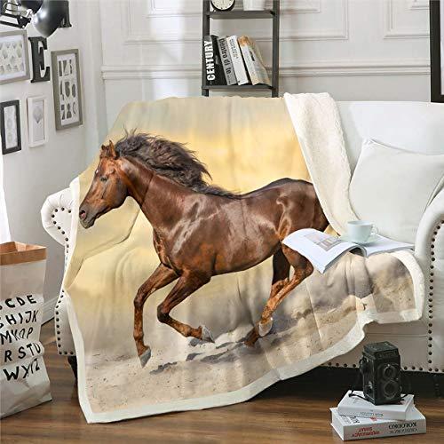 Manta de forro polar para sofá, mujer, hombre, color marrón, sherpa, animal salvaje en 3D, manta de felpa, decoración de habitación, estilo vida silvestre, manta de bebé, 76 x 101 cm