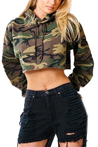 Les Femmes Manches Longues Automne Simple Camouflage À Capuche Cravate Crop Top Coupé Hem Veste Sweat - Shirts Green S