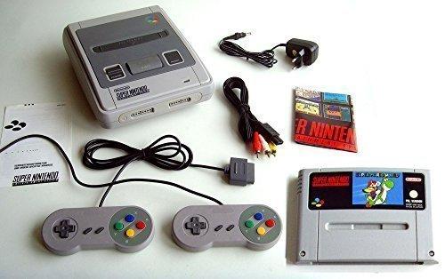 Super Nintendo / SNES Konsole mit 2 Controllern und Super Mario World Spiel - Konsole ist die deutsche Original PAL Version (komplett Set und sofort spielbereit, mit allen Kabeln und 2 remake Controllern) Super Nintendo Entertainment System