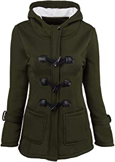 Sunmoot New Women Hooded Long Trench Coat Warm Wool Slim Windbreaker Parka Jacket Outwear