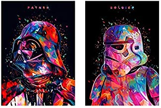 Two Packs,Star Wars 5D DIY Diamond Painting Full Round Drill Painting Embroidery Cross Stitch Rhinestone Wall Art Craft Classic Movie Pictures Mosaic Home Decoration (12X16IN/30X40CM)