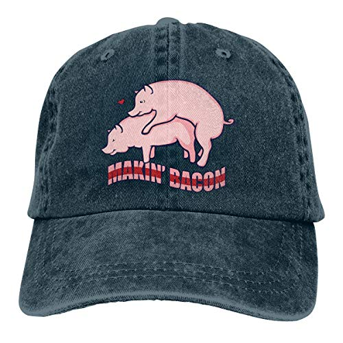 Makin' Bacon Adjustable Vintage Washed Denim Cotton Dad Hat Baseball Caps Outdoor Sun Hat