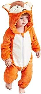 Cartoon Fox Baby Boy Girl Coral Fleece Romper Christmas Pajamas Flannel Winter Pijamas Pyjamas Kids Plush Jumpsuit Sleepwear Zhaozb (Color : Orange, Size : 6M)