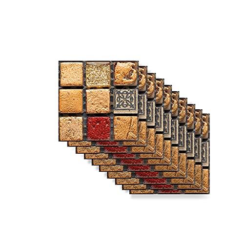 Hiseng Rectángulo Adhesivos Decorativos Azulejos Pegatinas para Baldosas del Baño, Mármol 3D Mosaico Estilo Cocina Resistente al Agua Pegatina de Pared, 10x10cm (Rojo Vintage,30Piezas)