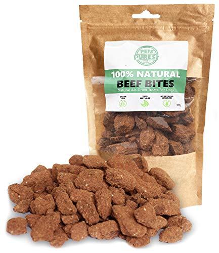 Pets Purest Bocadillos para Perros Natural 100% Carne de Res Secada al Aire – Un Solo Ingrediente – Libre Granos, Gluten y Lactosa –Bocadillos Saludables Perros Cachorros (300 g)