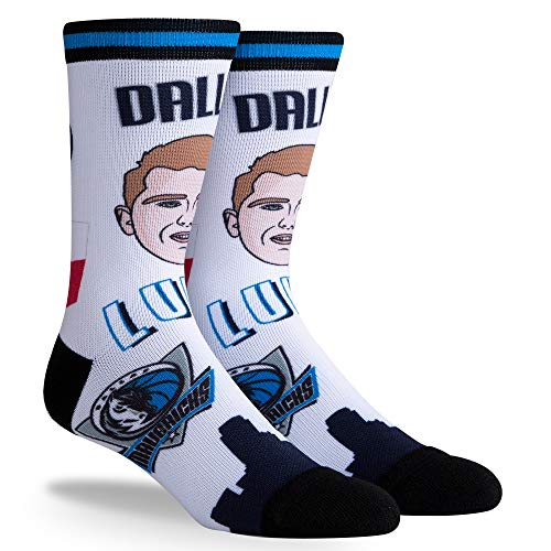 NBA Dallas Mavericks Luka Doncic Unisex PINS Crew Sock, Luka Doncic, Large