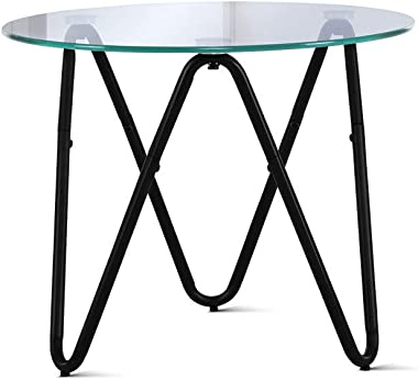 Artiss Tempered Glass Metal Coffee Table Round