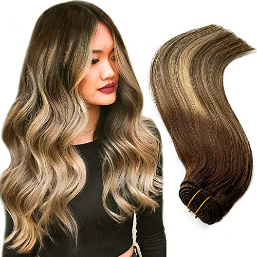 Sew in Human Hair Weft Extensions Brown Roots to Chocolate Brown to Honey Blonde Highlights Straight Brazilian Virgin Human Hair Bundles 120G for Women 22Inch Hand Tied Double Wefted Weave Extensions