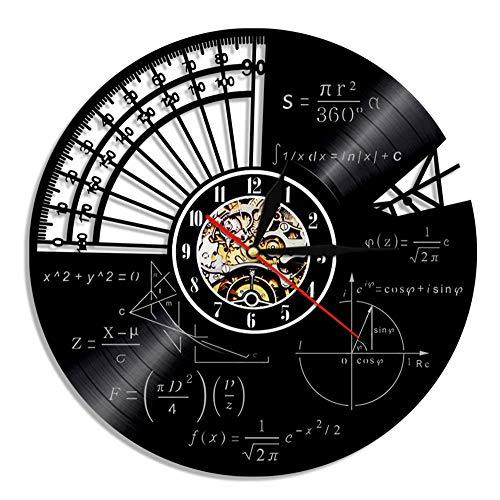 YYIFAN Reloj de Pared de Vinilo 30cm fórmula de química de matemáticas de la Escuela, Reloj de Cuarzo Digital Creativo, decoración del hogar 3D Arte para Sala de Estar, Dormitorio, Cocina Oficina (B)