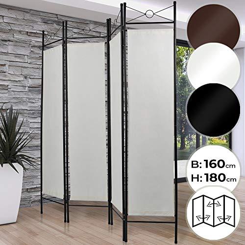MIADOMODO Raumteiler - 4-Fach, faltbar, 180x160cm, Eisen, Polyester, Farbwahl - Trennwand, Paravent, spanische Wand, Sichtschutzwand, Raumtrenner