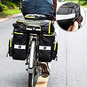 Asvert Bicicleta Pannier, Bolsa para Maletero de Bicicleta Extensible Bolsa de Asiento Trasero de la Bicicleta Pannier Negro
