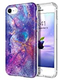 DUEDUE iPhone SE 2020 Case,iPhone 8 Case,iPhone 7 Case, Nebula Galaxy Design Slim Hybrid Hard PC Anti Slip Transparent TPU Cover Shockproof Full Protective Phone Case for iPhone7/8/SE2, Purple/Clear