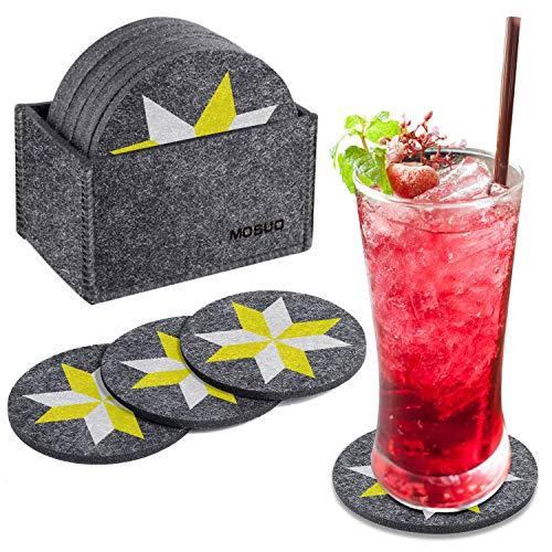MOSUO Juego de 10 Posavasos, Posavasos Originales con Caja Bebidas 10