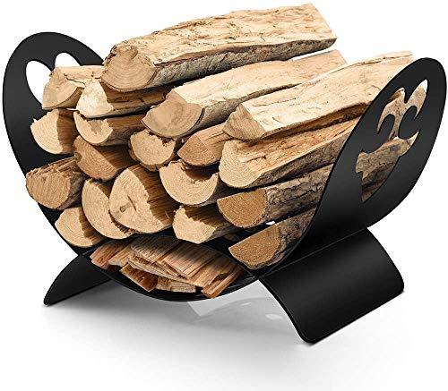 Amagabeli Holzkorb 48x33x30cm Kaminholzkorb Brennholzkorb aus Stahl Holzwiege Kamin Innen Metall Feuerholzkorb Tragekorb für Holz Draussen Holzlege für Kaminholz Brennholzregal Kaminholzständer