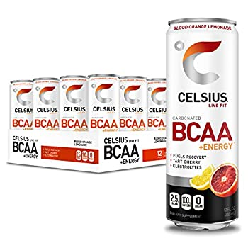 CELSIUS BCAA +Energy Sparkling Post-Workout Recovery & Hydration Drink Slim Can Blood Orange Lemonade 12oz  Pack of 12  144 Fl Oz