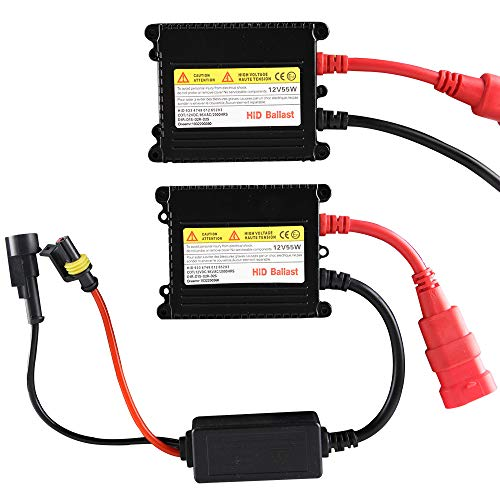 Chemini 2PCS 12V 55W HID Ballasts Replacement HID Xenon Ballast Slim Digital HID Kit Universal for H1 H3 H7 H8 H9 H11 9005 9006 H4