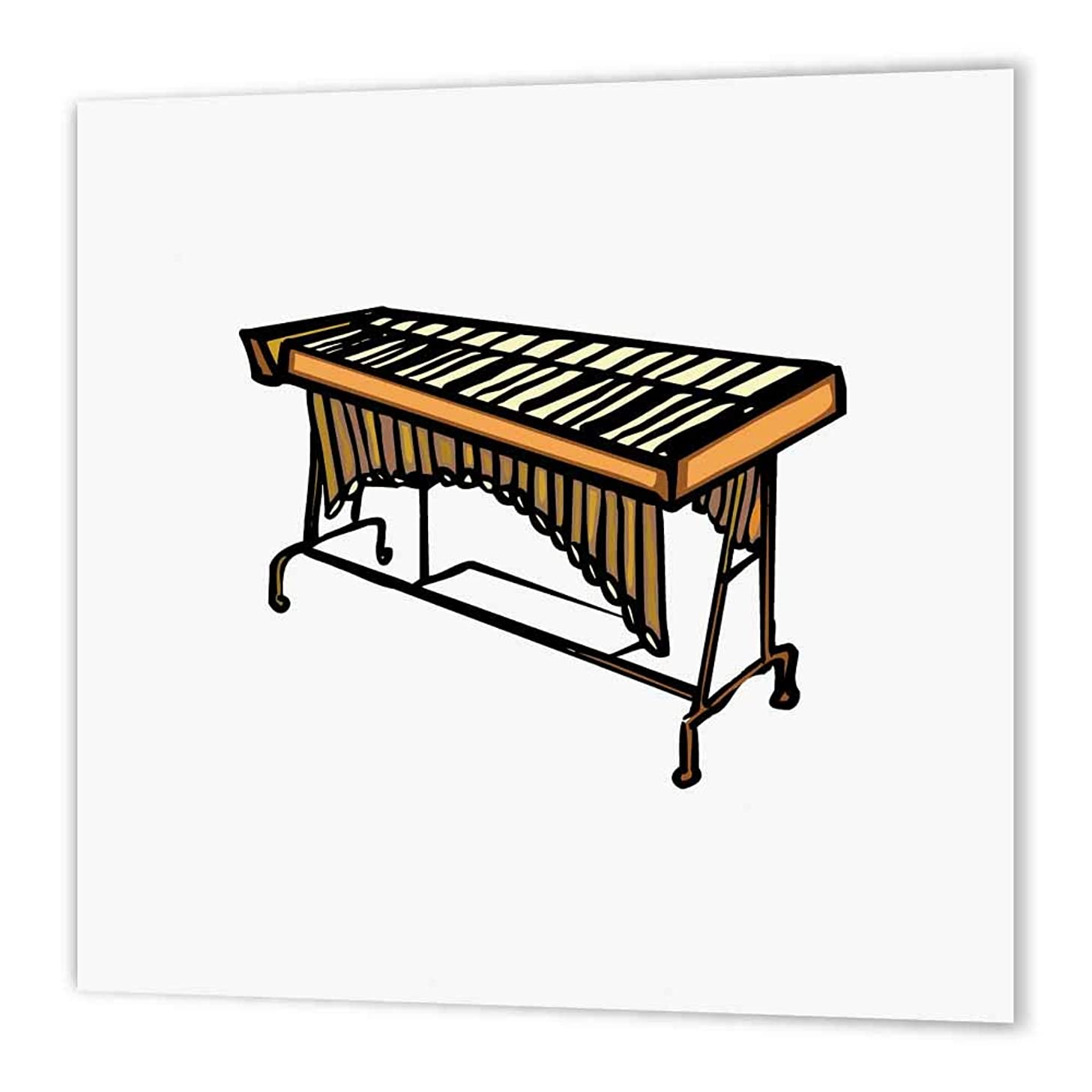 3dRose ht_164443_2 Vibraphone Simple Instrument Design-Iron on Heat Transfer Paper for White Material, 6 by 6-Inch