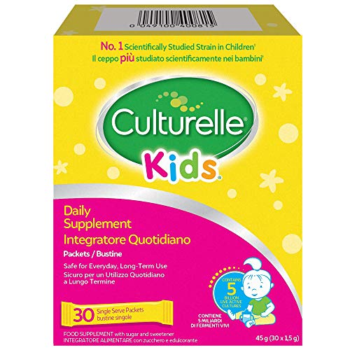 Culturelle Kids Food Supplement for Children | 30 Sachets | 5 Billion Bacterial Cultures | Lactobacillus Rhamnosus GG | Gluten-Free | 30 Days Supply