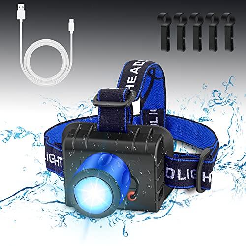 Linterna cabeza 2 en 1 LED , Portátil impermeable led frontal recargable, 4 modos de iluminación, Función de energía móvil, Carga USB, Apta para exterior, Jogging