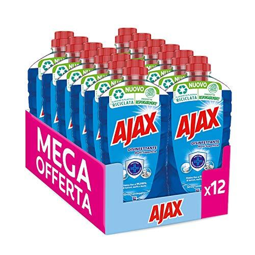 Ajax Detersivo Pavimenti Disinfettante Multisuperficie, senza Candeggina, Confezione da 12 x 950 ml