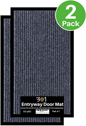 2-Pack Doormats for Entrance Way Outdoors, Shoe Scraper Rug (17.5 x 29.5) All-Weather Floor Mat for Heavy Traffic Area, Garage, Patio, Indoor, Durable Rubber Mat, Heavy-Duty, Easy-Clean, Anti-Slip Rug