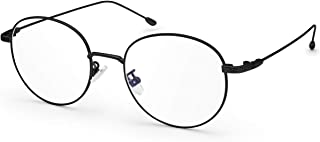 Livho Blue Light Blocking Glasses Filter UV Glare Retro Round Ultra Lightweight Computer Game Glasses [Anti Eyestrain, Reduce Headache & Better Sleep] (Black) - 0.0 Magnification