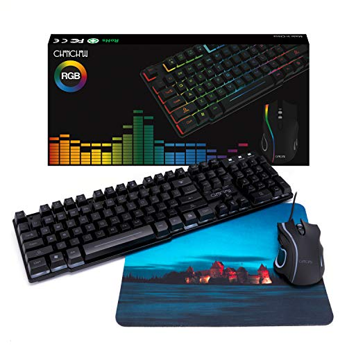 Gaming Keyboard and Mouse Combo,CHONCHOW Rainbow LED Backlit USB Wired Gaming Keyboard with Mice for PS4 Xbox PC Computer Gamers