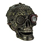 Veronese Design Steampunk Style Human Skull Bronze Finished Statue with Movable Jaw