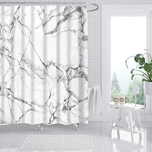 amzdeal Duschvorhang 180 x 180 cm mit 12 Ringe, Polyestergewebe Wasserdicht Maschinenwaschbar, für Badewanne Duschen Dekorative Backstein Badezimmer - Marmor