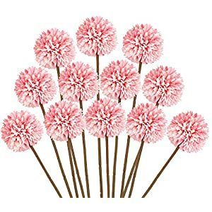 Mossyard 12 Pcs Artificial Chrysanthemum Ball Flowers, Silk Small Hydrangea Bouquets for Home Garden Party Wedding Office Decoration, DIY Floral Arrangements, Centerpieces