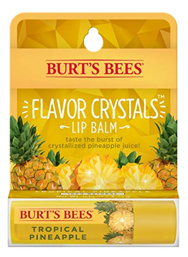Burt's Bees Flavor Crystals 100% Natural Lip Balm, Tropical Pineapple with Beeswax & Fruit Extracts - 1 Tube , 0.16 ounce