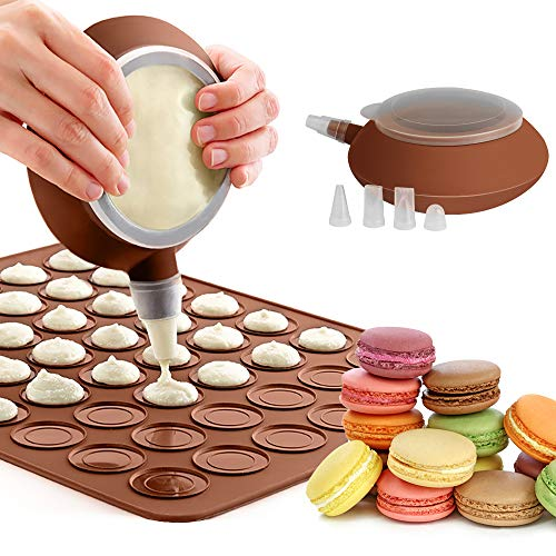 GROOFOO Macaron Silikon Backmatte Form Set, Non-Stick 48 Kapazität Makronen Backblech, French Macarons Backset mit Dekorationsstift und 4 Düsen für Macaron, Cupcake, Dessert