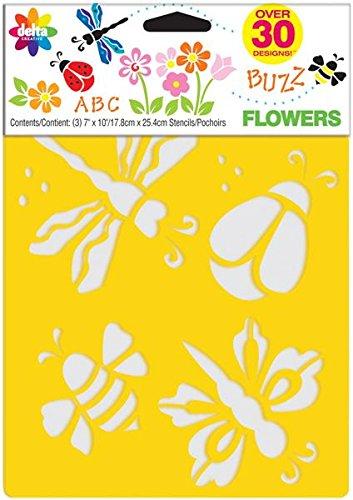 Delta 970980056 Pochoir créatif Motif fleurs 17,8 x 25,4 cm