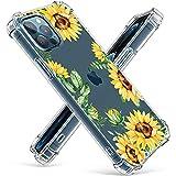 Niboow Coque Compatible avec iPhone 12 Pro Max, [avec 2 pièces Verre Trempé] Silicone Gel Fleur...
