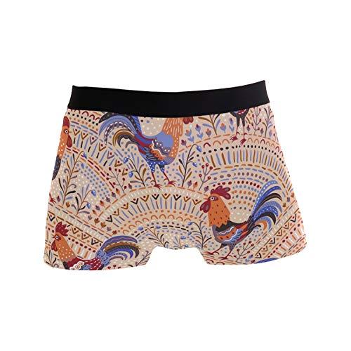 Linomo Calzoncillos tipo bóxer étnico gallo pollo, boxeadores, pantalones cortos, ropa interior