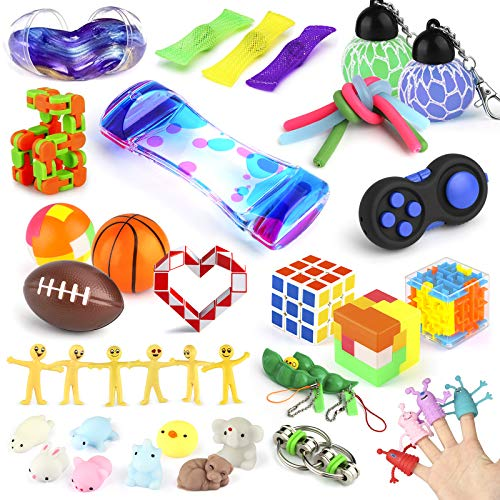 Sensory Fidget Toys Set, 40 Pcs Stress Relief and Anti-Anxiety Toys for Adults Kids ADHD ADD Anxiety Autism with Stress Balls, Squishy, Stretchy String, Puzzle Balls for Birthday, Classroom Rewards