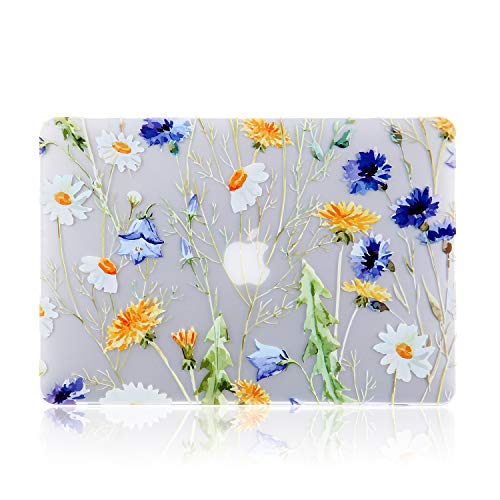 iDonzon Case for MacBook Pro 15 inch (A1990/A1707, 2019-2016 Release), 3D Effect Matte Clear See Through Hard Cover Compatible Mac Pro 15.4 inch with Touch Bar Touch ID - Floral Pattern