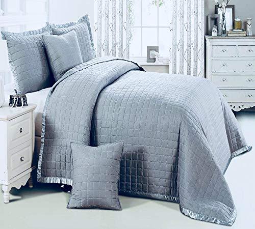 sprei massief effen bed gooi 3 stuks luxe gewatteerde loper met 2 Oxford stijl kussen Shams