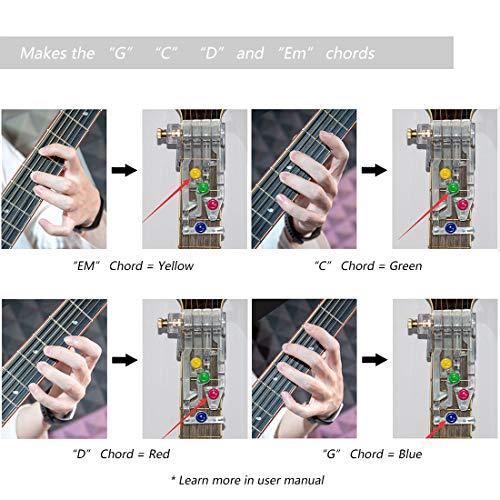 HONGECB Sistema de Aprendizaje de Guitarra, Clásico Chord Buddy y 100% Vinilo Colores Guitarra Afilar Imágenes Principiantes, Ayuda a la Enseñanza, Herramienta de Aprendizaje Para Principiantes