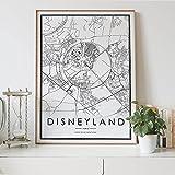 MG global DISNEYLAND Paris France - Póster personalizado en blanco y negro con mapa de la ciudad, diseño de mapa de la ciudad, sin marco