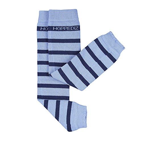 HOPPEDIZ® Baby-Stulpen aus Bio-Baumwolle hellblau mit dunkelblauen Streifen